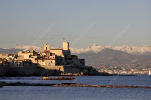 Antibes and mountains with snow