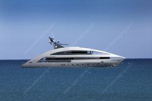 Contemporary yacht at anchor