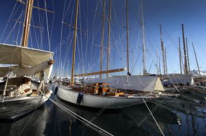 Classic sailing yacht at the old port