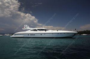 Mangusta yacht at anchor between Lerins islands