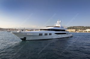 Massive yacht at anchor in the bay of Cannes