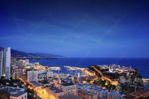 Monaco Port Hercule at night